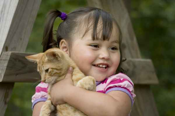 Little girl hugging a kitten by Shutterstock